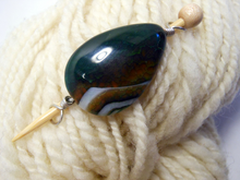 Handmade Natural Stone Shawl Pin ~ Wire Wrapped Stone ~ Multicolored Dragon Agate Teardrop with Silver Wire