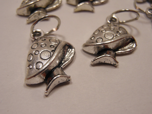 Handmade Silver Metal Stitch Markers ~ Mushrooms ~ Set of 6