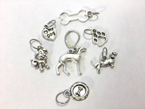 Handmade Silver Metal Stitch Markers ~ Must <3 Dogs ~ Set of 7 Stitch Markers