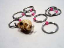 Handmade Snagless Stitch Markers ~ Neon Pink Skull ~ Set of 10