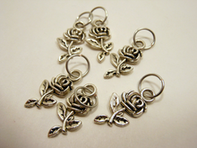 Handmade Silver Metal Stitch Markers ~ Nootka Rose ~ Set of 6