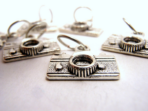 Handmade Silver Metal Stitch Markers ~ Old School ~ Set of 6 Camera Stitch Markers