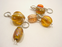 Handmade Indian Glass and Silver Stitch Markers ~ Orange ~ Set of 6 ~ Iridescent Handmade Glass Beads