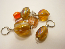 Handmade Indian Glass and Silver Stitch Markers ~ Orange