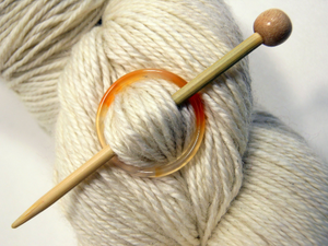 Natural Stone Shawl Pin ~ Orange Stone Ring B
