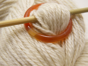 Natural Stone Shawl Pin ~ Orange Stone Ring I