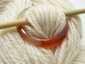 Natural Stone Shawl Pin ~ Orange Stone Ring K