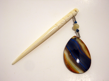 Handmade Shawl Stick ~ Natural Stone Blue and Orange Striped Agate with Yellow Jade and Calsilica on a Natural Carved Bone Shawl Stick
