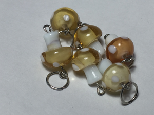 Handmade Lampwork Glass Stitch Markers ~ Orangesicle Mushrooms ~ Set of 6 Stitch Markers