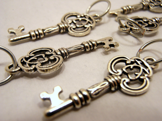 Handmade Silver Metal Stitch Markers ~ Ornate Keys ~ Set of 6
