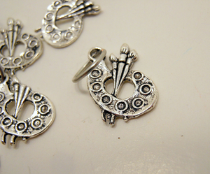 Handmade Silver Metal Stitch Markers ~ Painters Palette ~ Set of 6