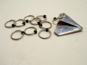 Handmade Snagless  Metal Stitch Markers ~ Paper Plane ~ Set of 10