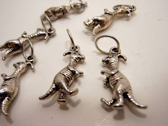 Handmade Silver Metal Stitch Markers ~ Parasaurolophus Dinosaurs ~ Set of 6