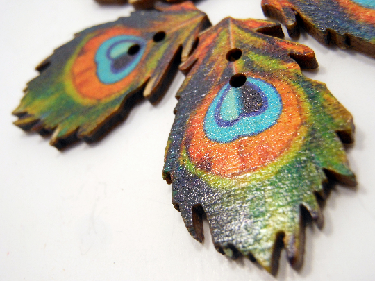 Wooden Buttons Set of 5: Printed Wooden Peacock Buttons ~ Large Flat Peacock Wooden Buttons 1 3/8