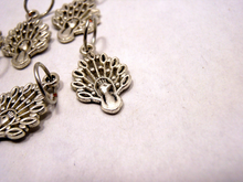 Handmade Silver Metal Stitch Markers ~ Peacocks ~ Set of 6