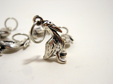 Handmade Silver Metal Stitch Markers ~ Pelicans ~ Set of 6
