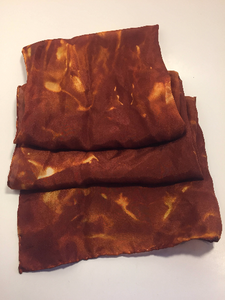 "Hand Dyed Silk Scarf ~ 100% Pure Silk Habotai Scarf with Rolled Hems 15"" x 60"" ~ Pennsylvania"