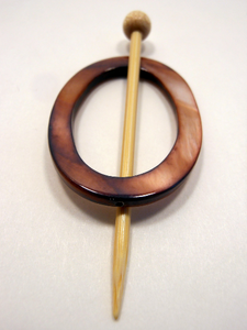 "Mother of Pearl Oval Shawl Pin ""Peony"""