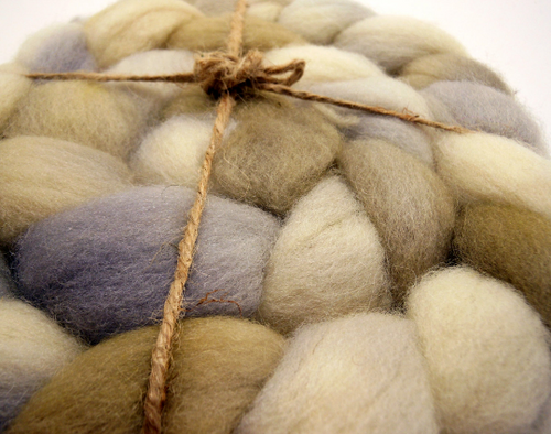 Hand Dyed 100% Domestic Wool Roving 4oz: Permafrost