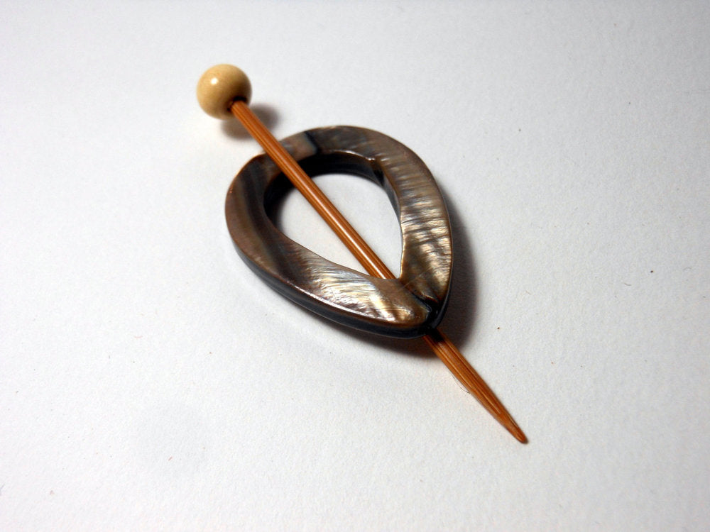 Mother of Pearl Shawl Pin Teardrop Shaped Pin