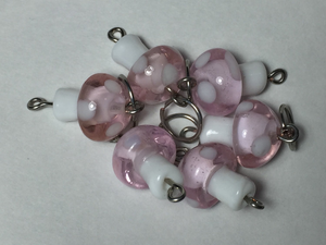 Handmade Lamp Work Glass Stitch Markers ~ Pink & White Mushrooms ~ Set of 6