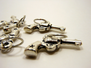 Handmade Silver Metal Stitch Markers ~ Pistols ~ Set of 6
