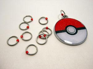 Handmade Snagless Stitch Markers ~ Gotta Catch 'Em All! ~ Set of 10 ~ Pokeball with Snagless Red Markers