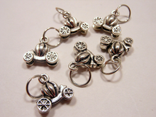 Silver Metal Stitch Markers ~ Pumpkin Carriage ~ Set of 6