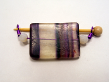 Handmade Natural Stone Shawl Pin ~ Wire Wrapped Stone ~ Purple Striped Fluorite with Snow Agate and Purple Wire