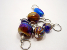 Handmade Indian Glass and Silver Stitch Markers ~ Purple ~ Set of 6 ~ Iridescent Handmade Glass Beads