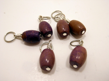 Handmade Natural Stone Stitch Markers ~ Purple Jasper ~ Set of 6