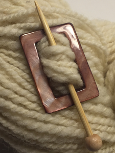 "Mother of Pearl Rectangular Shawl Pin ""Raspberry Flat"""