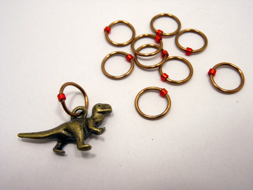 Handmade Snagless Stitch Markers ~ Rawr! ~ Set of 10 ~ Antique Bronze T-Rex Stitch Markers