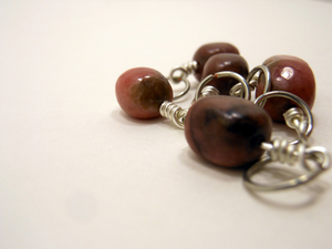 Handmade Natural Stone Stitch Markers ~ Rhodonite Pebbles ~ Set of 6