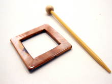 "Mother of Pearl Square Shawl Pin ""Rhubarb Cake"""