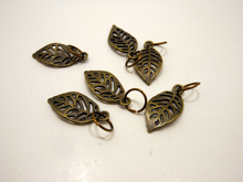 Handmade Antique Bronze Metal Stitch Markers ~ Robles ~ Set of 6 Oak Leaves