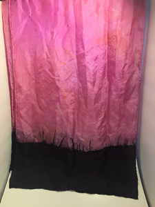 "Hand Dyed Silk Scarf ~ 100% Pure Silk Habotai Scarf with Rolled Hems 15"" x 60"" ~ So What? I'm Still A Rockstar! in Orchid ~ Pink and Orange"