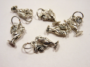 Handmade Silver Metal Stitch Markers ~ Roosters ~ Set of 6