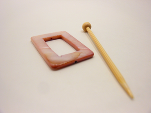 "Mother of Pearl Rectangular Shawl Pin ""Rose Mallow"""