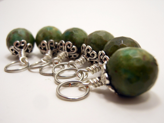 Handmade Natural Stone Stitch Markers ~ Ruby in Fuchsite ~ Set of 6