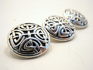 "Metal Buttons Set of 3: Silver Celtic Knot Metal Shank Buttons ~ Celtic Knot Silver Metal Buttons 5/8"" Diameter"