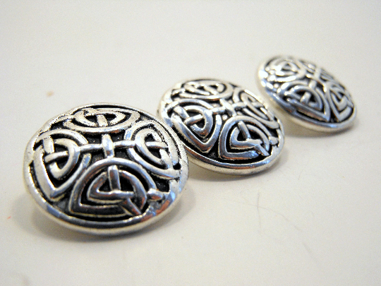 Metal Buttons Set of 3: Silver Celtic Knot Metal Shank Buttons ~ Celtic Knot Silver Metal Buttons 5/8