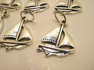 Handmade Silver Metal Stitch Markers ~ Sailing ~ Set of 6