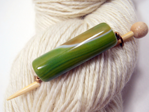 Handmade Natural Stone Shawl Pin ~ Sapling ~ Wire Wrapped Green, Brown, and White Striped Agate with Antique Bronze Wire