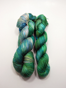 Sea Glass Silk 100% Pure Silk ~ Lace Weight ~ Hand Dyed 500 or 1000 Yards ~ Hand Dyed Single Lot Blue Green Sea Glass Silk Yarn