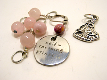 Handmade Silver Metal Stitch Markers ~ Self Rescuing Princess ~ Set of 7 Stitch Markers