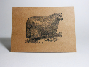 "Vintage Style 4X6"" Notecards ~ Sheep #4"