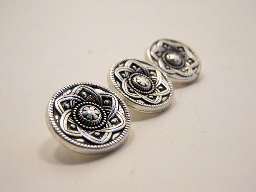Metal Buttons Set of 3: Silver Celtic Daisy Metal Shank Buttons ~ Celtic Knot Daisy Silver Metal Buttons 9/16