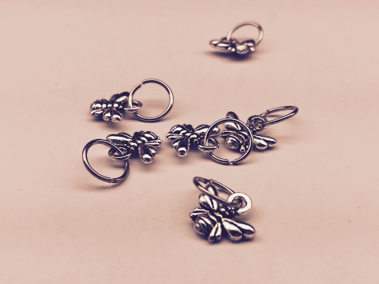 Handmade Silver Metal Stitch Markers ~ Honey Bee ~ Set of 6