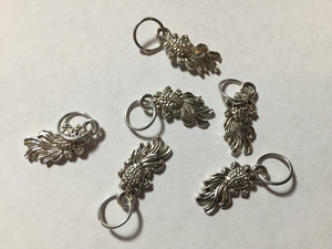 Handmade Silver Metal Stitch Markers ~ Silver Koi Fish ~ Set of 6